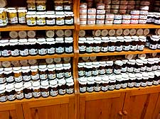 Picture showing a huge assortment of homemade jams