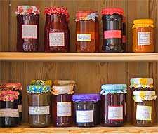 Image of coloured jars of homemade jam